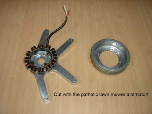 Jabiru lawn mower alternator OUT